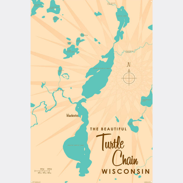 Turtle Chain Wisconsin, Metal Sign Map Art
