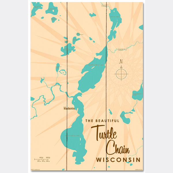 Turtle Chain Wisconsin, Wood Sign Map Art