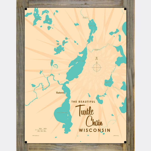 Turtle Chain Wisconsin, Wood-Mounted Metal Sign Map Art