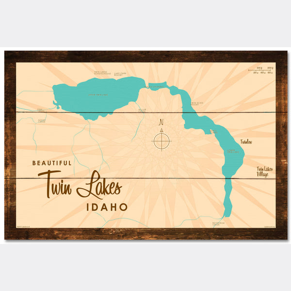 Twin Lakes Idaho, Rustic Wood Sign Map Art