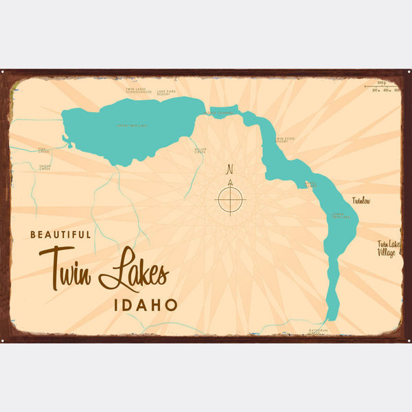 Twin Lakes Idaho, Rustic Metal Sign Map Art