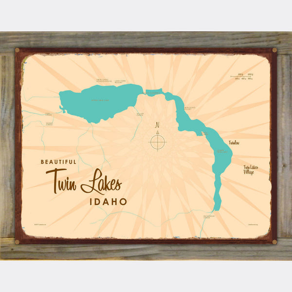 Twin Lakes Idaho, Wood-Mounted Rustic Metal Sign Map Art