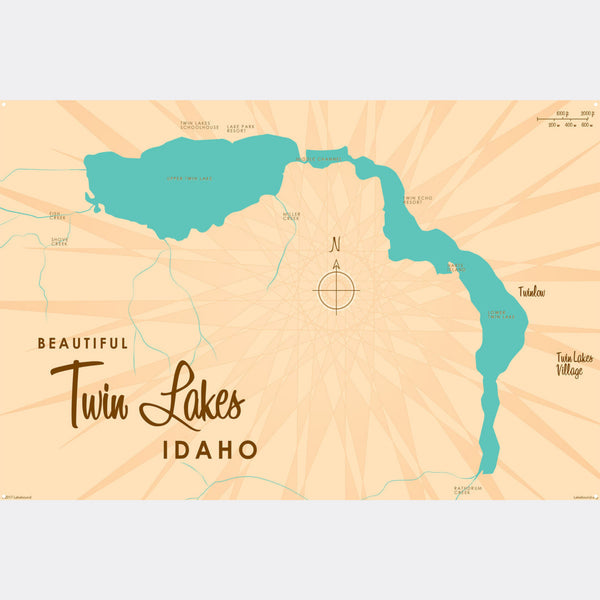 Twin Lakes Idaho, Metal Sign Map Art