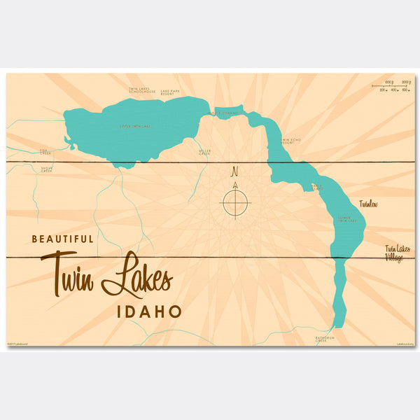 Twin Lakes Idaho, Wood Sign Map Art