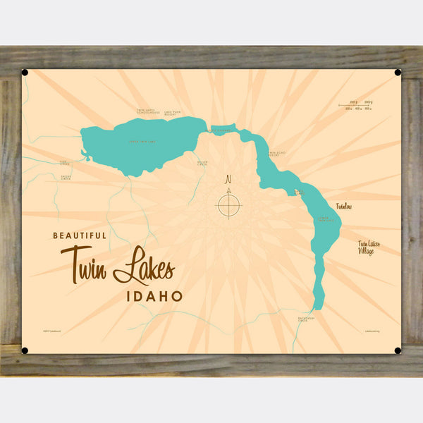 Twin Lakes Idaho, Wood-Mounted Metal Sign Map Art