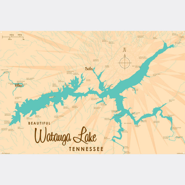 Watauga Lake Tennessee, Metal Sign Map Art