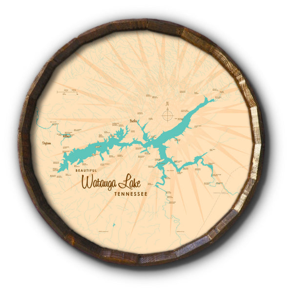 Watauga Lake Tennessee, Barrel End Map Art