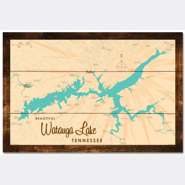 Watauga Lake Tennessee, Rustic Wood Sign Map Art