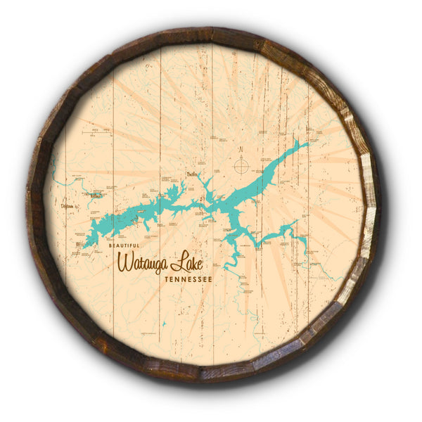 Watauga Lake Tennessee, Rustic Barrel End Map Art