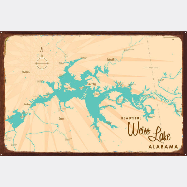 Weiss Lake Alabama, Rustic Metal Sign Map Art