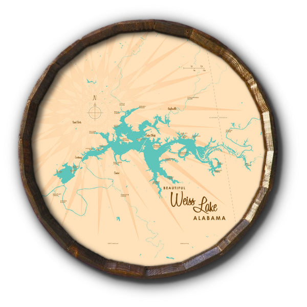 Weiss Lake Alabama, Barrel End Map Art