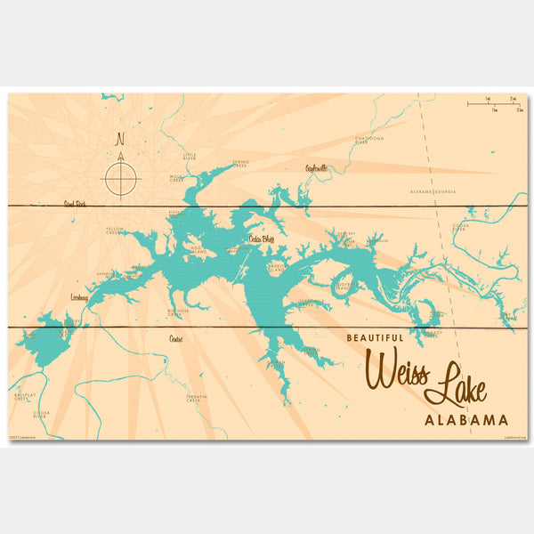 Weiss Lake Alabama, Wood Sign Map Art