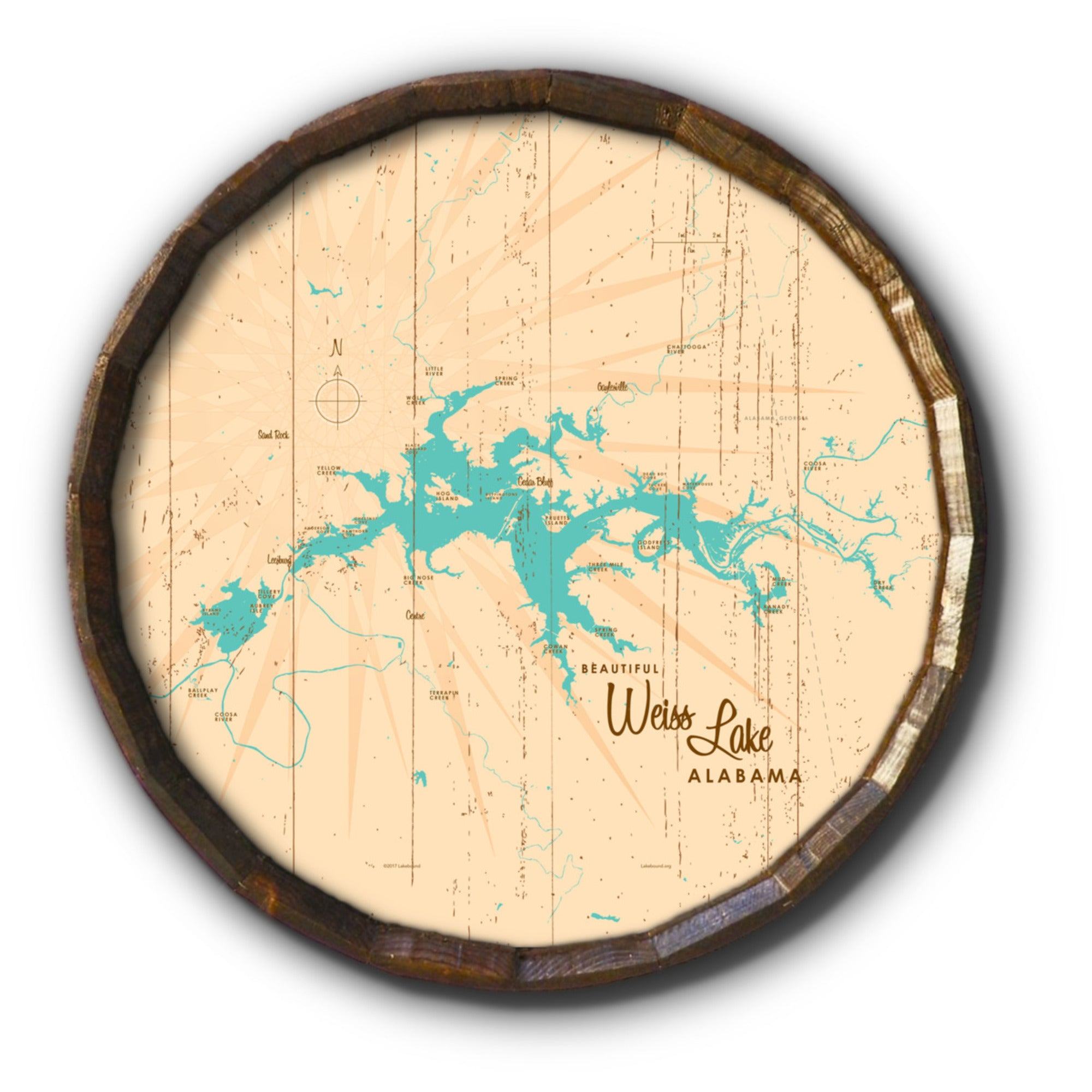 Weiss Lake Alabama, Rustic Barrel End Map Art