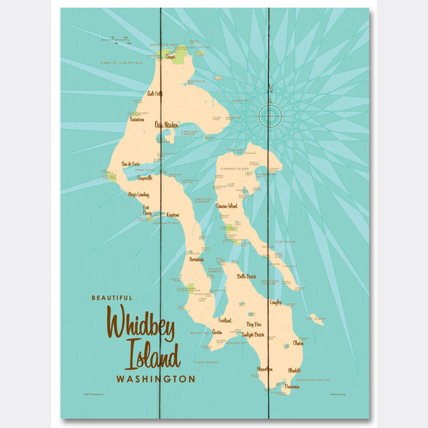 Whidbey Island Washington, Wood Sign Map Art