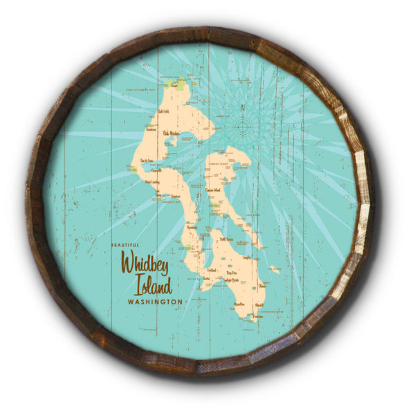 Whidbey Island Washington, Rustic Barrel End Map Art