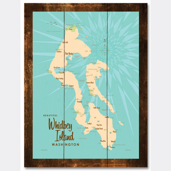 Whidbey Island Washington, Rustic Wood Sign Map Art