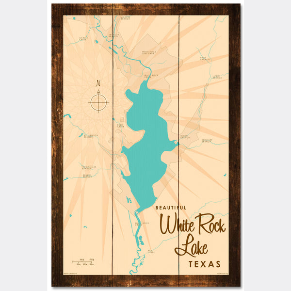 White Rock Lake Texas, Rustic Wood Sign Map Art