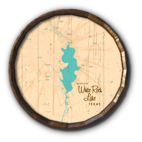 White Rock Lake Texas, Rustic Barrel End Map Art