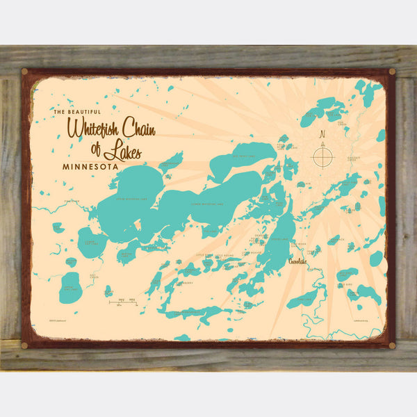 Whitefish Chain Minnesota, Wood-Mounted Rustic Metal Sign Map Art