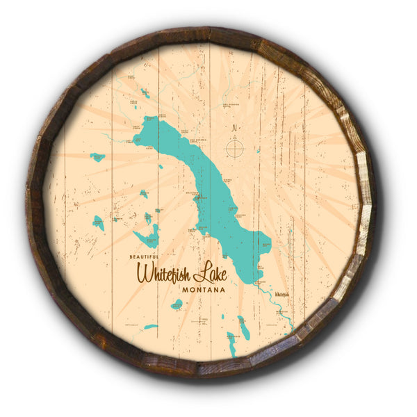 Whitefish Lake Montana, Rustic Barrel End Map Art
