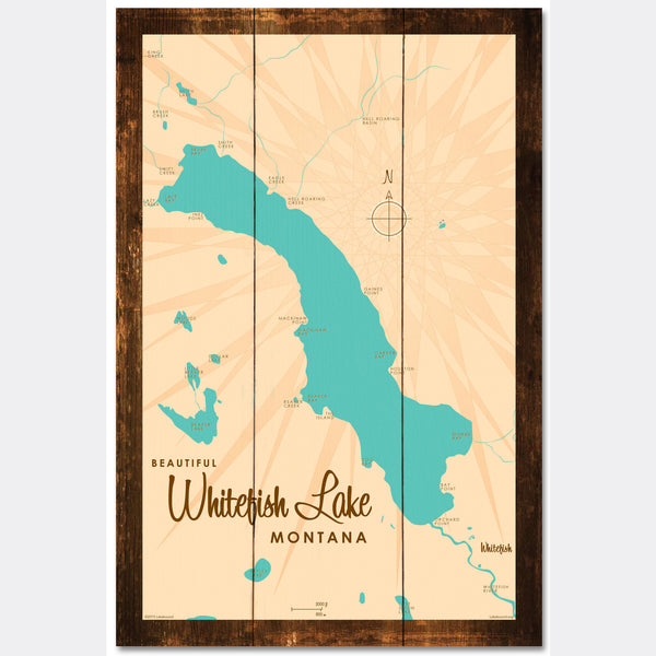 Whitefish Lake Montana, Rustic Wood Sign Map Art