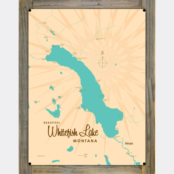 Whitefish Lake Montana, Wood-Mounted Metal Sign Map Art