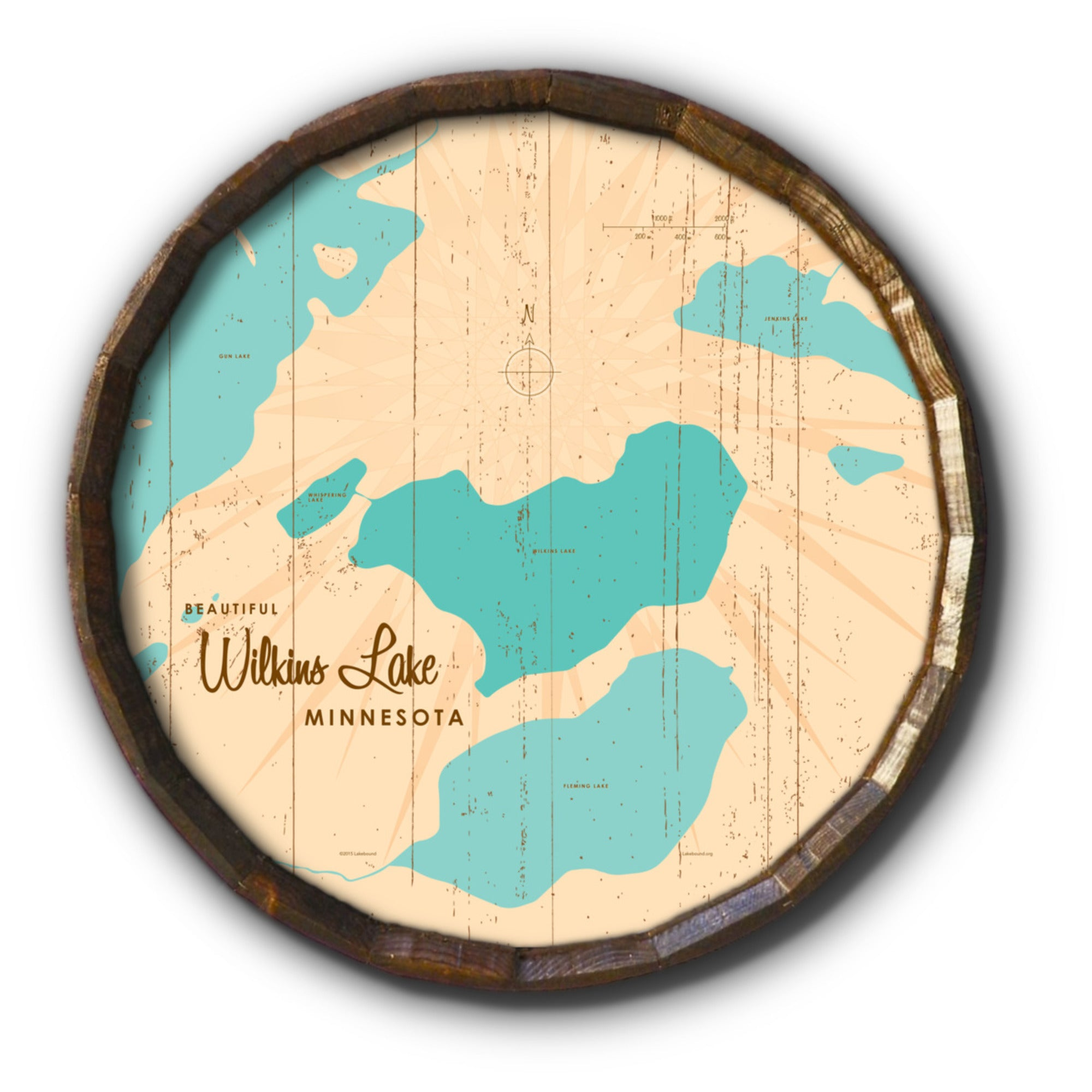 Wilkins Lake Minnesota, Rustic Barrel End Map Art