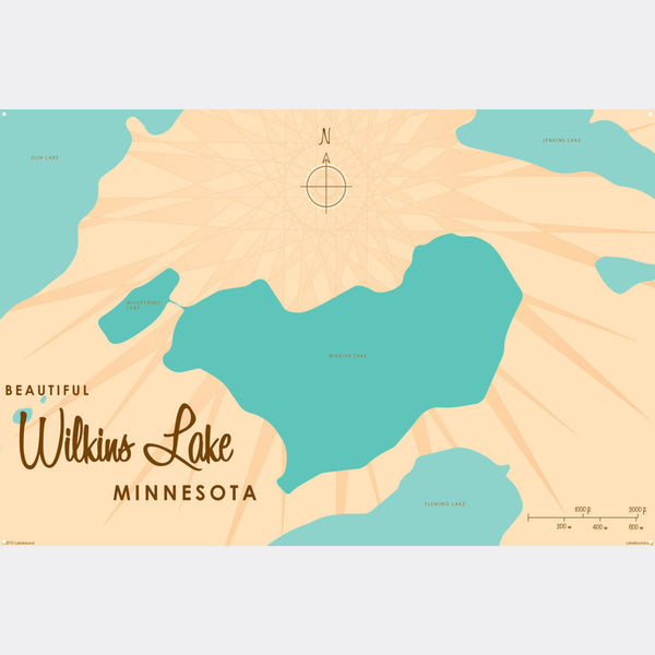 Wilkins Lake Minnesota, Metal Sign Map Art