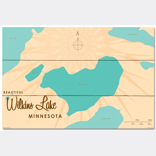 Wilkins Lake Minnesota, Wood Sign Map Art