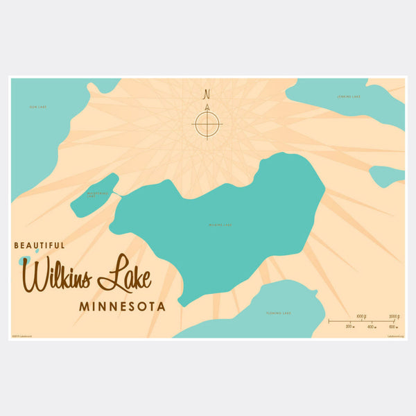 Wilkins Lake Minnesota, Paper Print