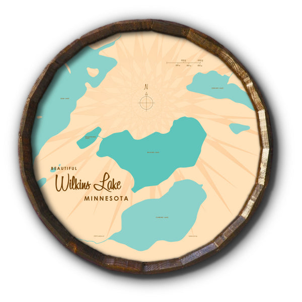 Wilkins Lake Minnesota, Barrel End Map Art