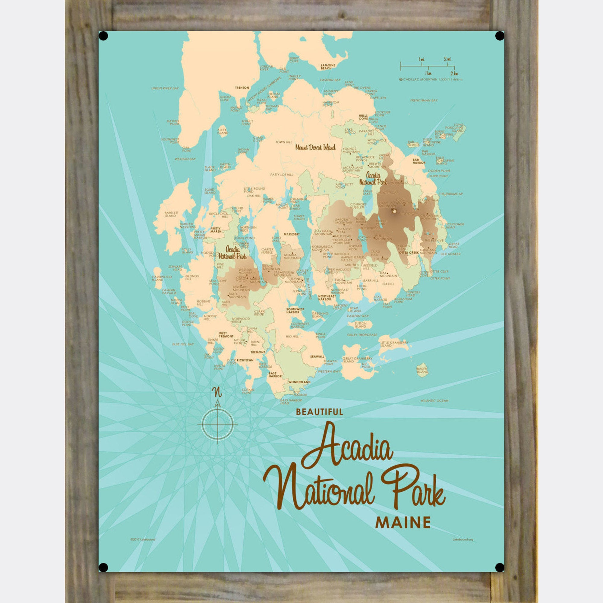 Acadia National Park, ME Wood-Mounted Metal Sign Map Art