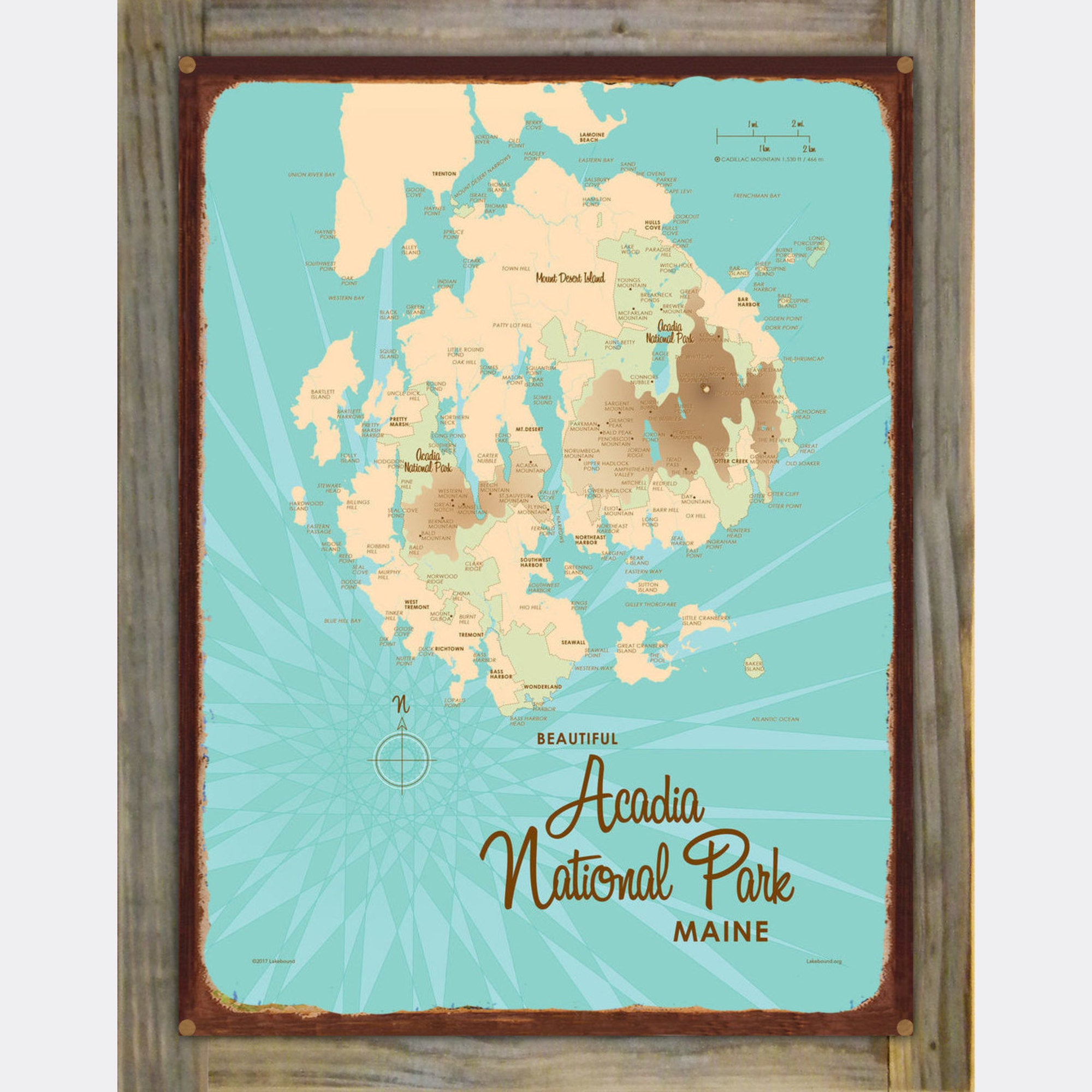 Acadia National Park , Wood-Mounted Rustic Metal Sign Map Art