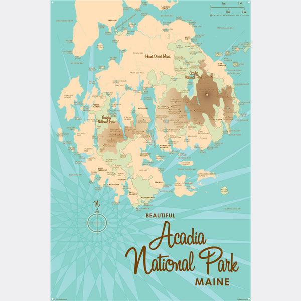 Acadia National Park , Metal Sign Map Art