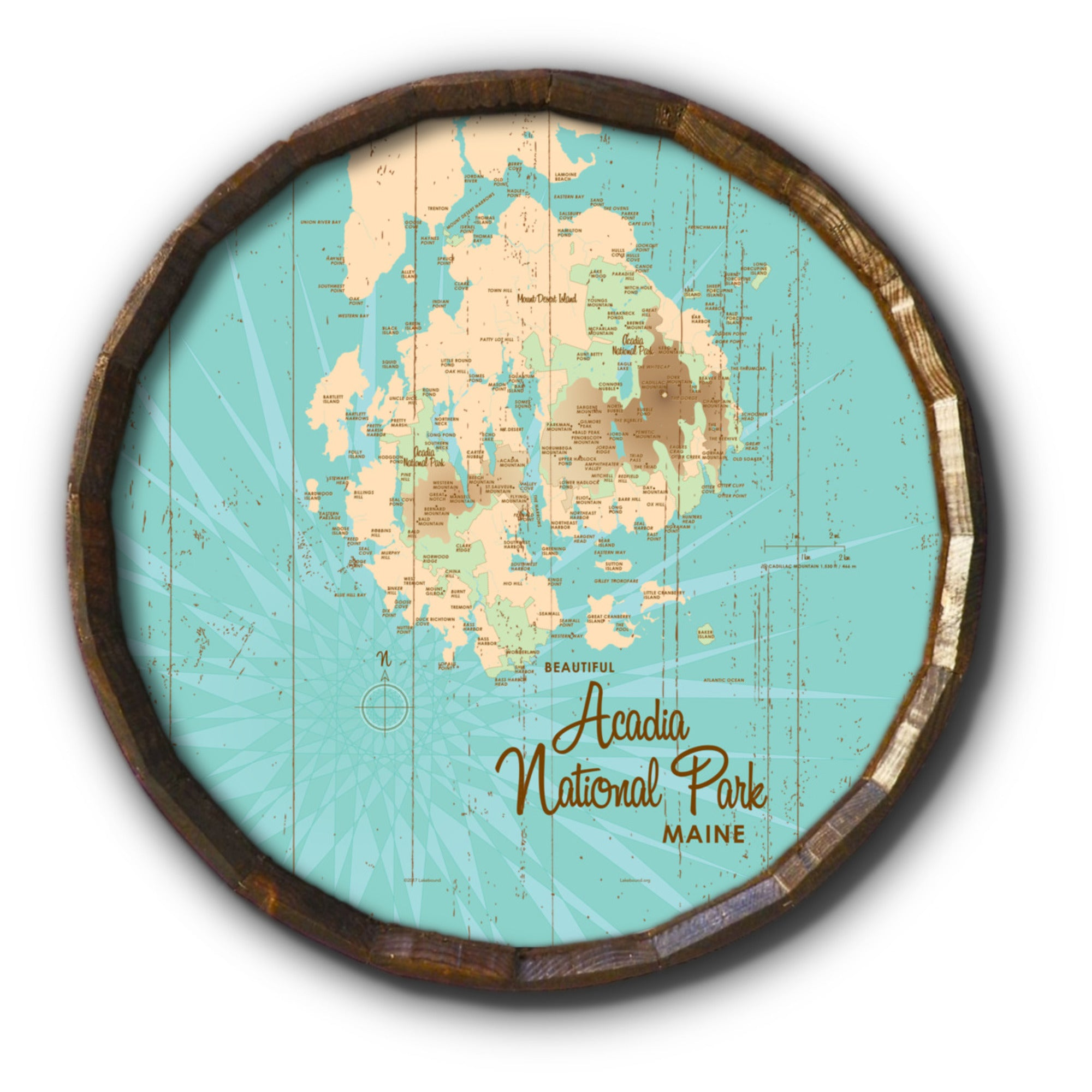 Acadia National Park , Rustic Barrel End Map Art