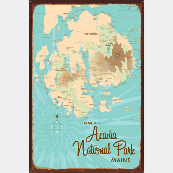 Acadia National Park , Rustic Metal Sign Map Art