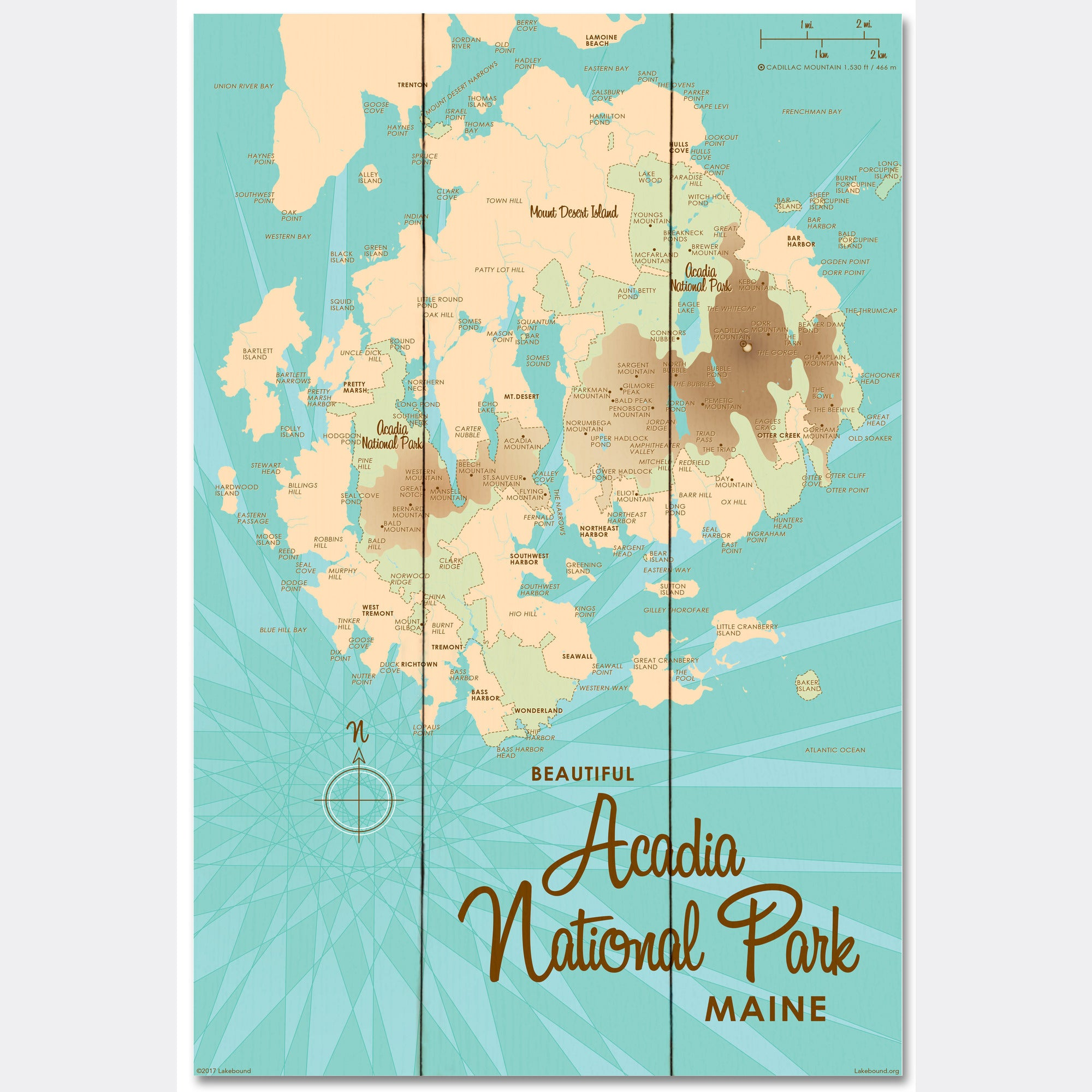 Acadia National Park, ME Wood Sign Map Art