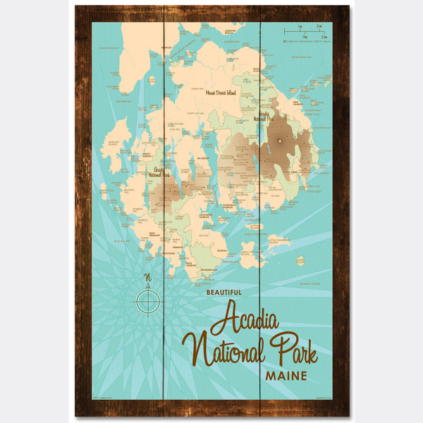 Acadia National Park , Rustic Wood Sign Map Art
