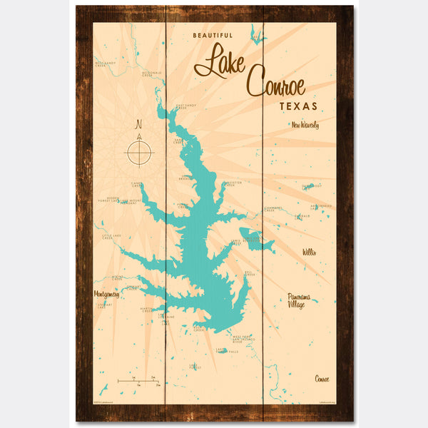 Lake Conroe , Rustic Wood Sign Map Art