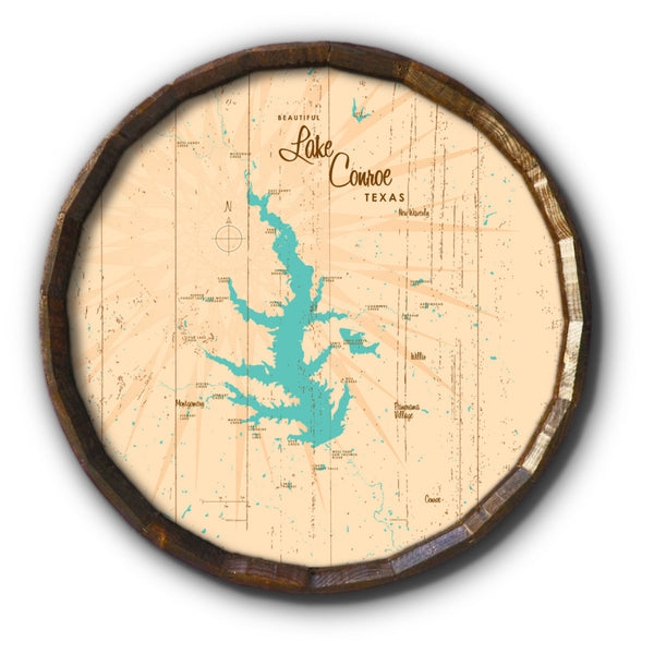 Lake Conroe , Rustic Barrel End Map Art