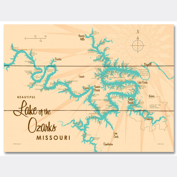 Lake of the Ozarks Missouri (without Mile Markers), Wood Sign Map Art