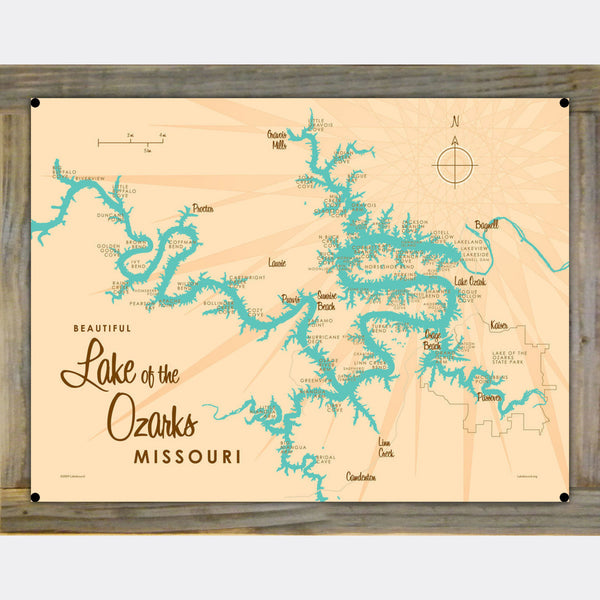 Lake of the Ozarks Missouri (without Mile Markers), Wood-Mounted Metal Sign Map Art