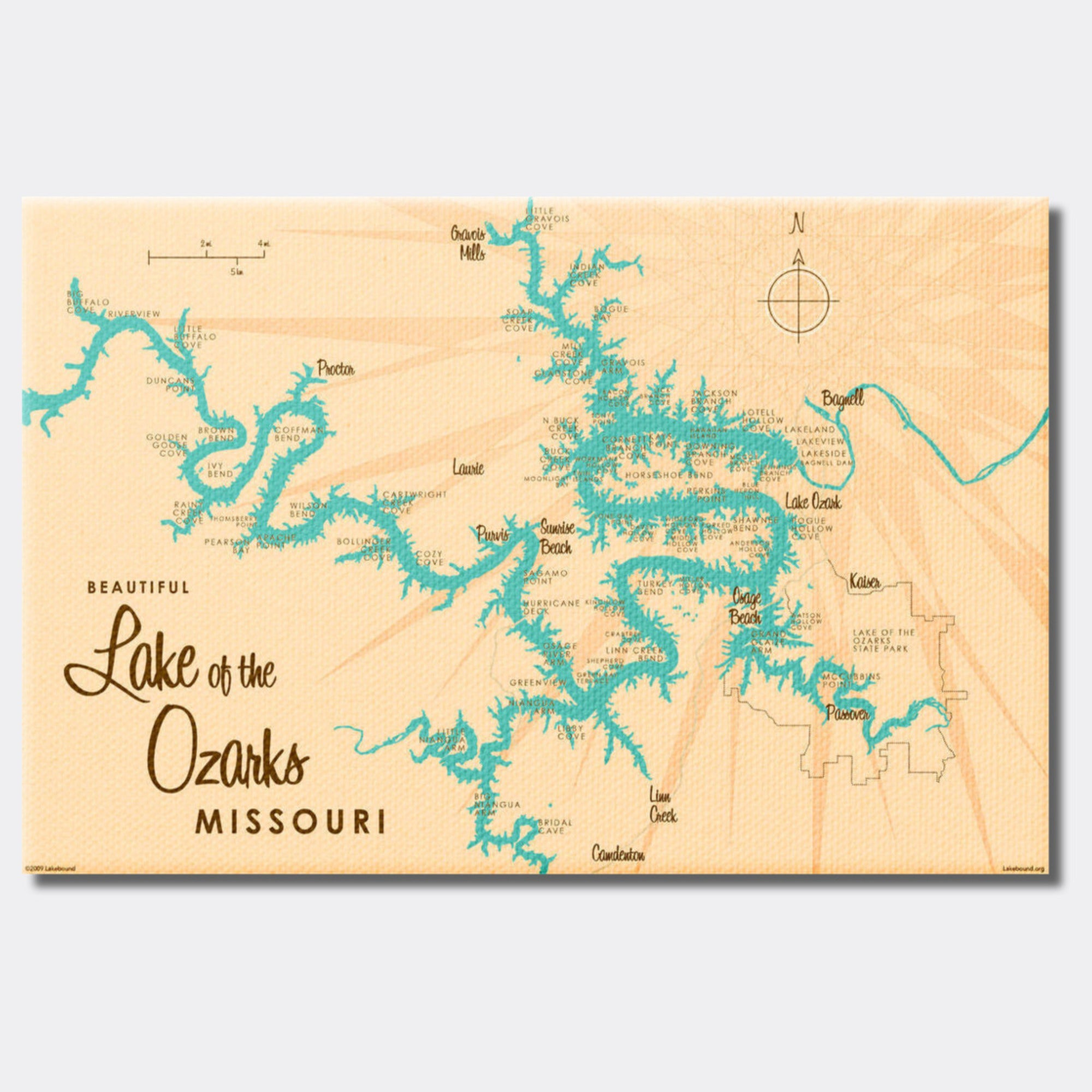 Lake of the Ozarks Missouri (without Mile Markers), Canvas Print