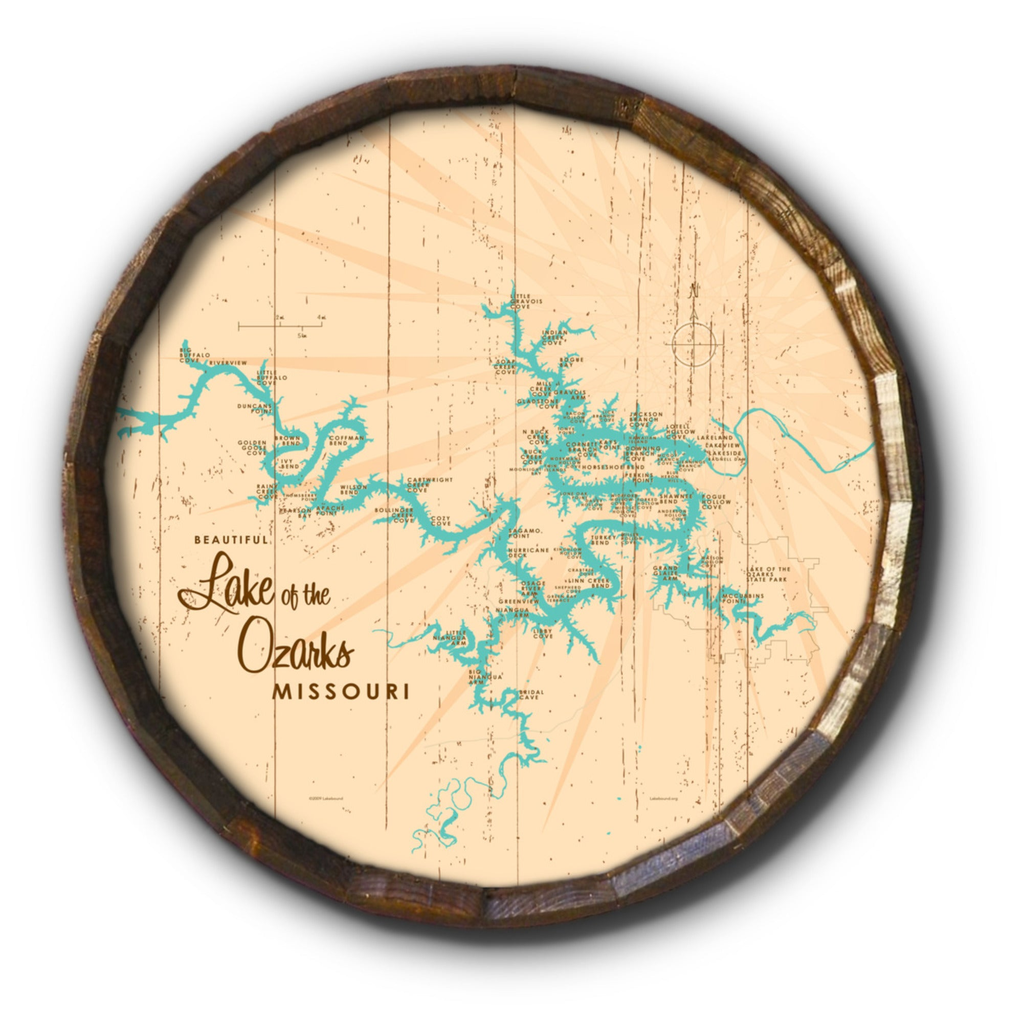 Lake of the Ozarks Missouri (without Mile Markers), Rustic Barrel End Map Art