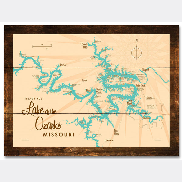 Lake of the Ozarks Missouri (without Mile Markers), Rustic Wood Sign Map Art