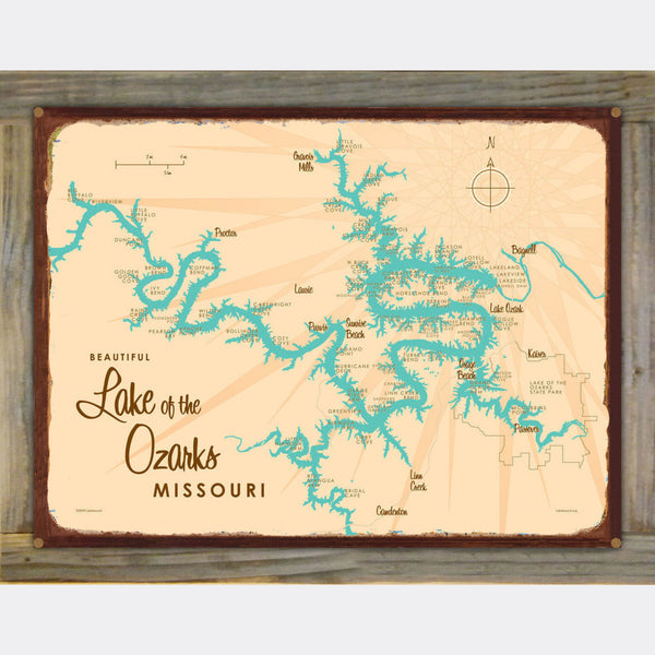 Lake of the Ozarks Missouri (without Mile Markers), Wood-Mounted Rustic Metal Sign Map Art