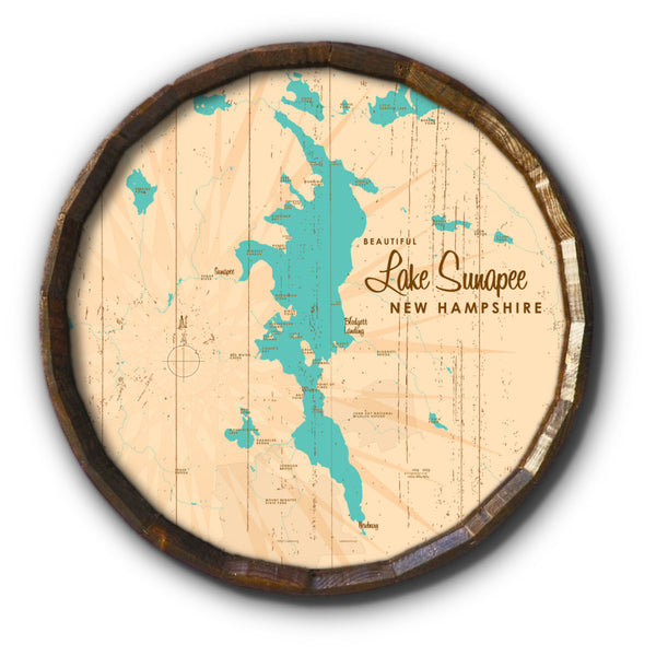 Lake Sunapee , Rustic Barrel End Map Art