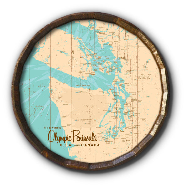 Olympic Peninsula , Rustic Barrel End Map Art