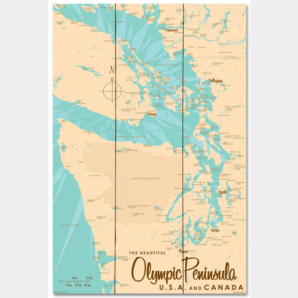 Olympic Peninsula , Wood Sign Map Art