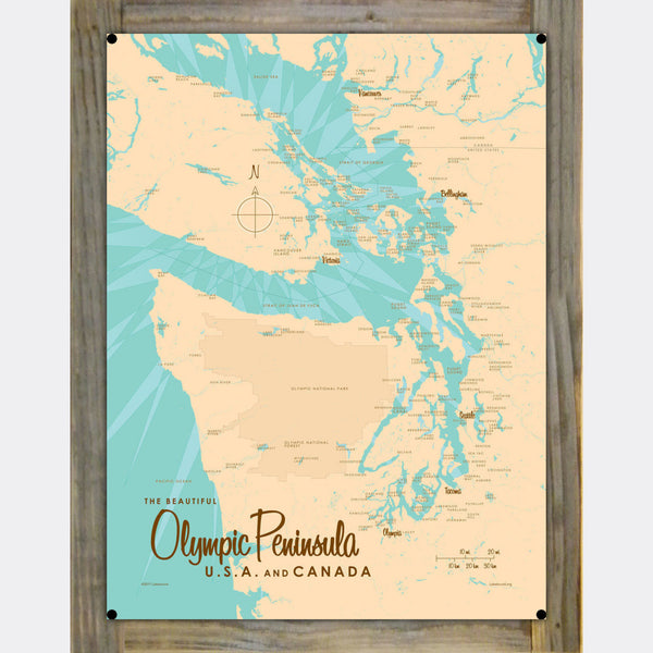 Olympic Peninsula , Wood-Mounted Metal Sign Map Art
